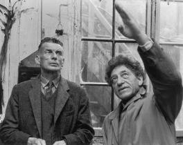 Giacometti and Samuel Beckett in Giacometti's studio 1961