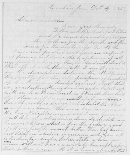 Lydia Smith's letter to Abraham Lincoln.