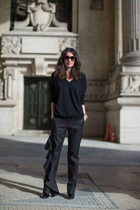 ruffles-ruffled pants-all black-black oversized sweater-work outfit-winter to spring-all black-pfw street style-hbz