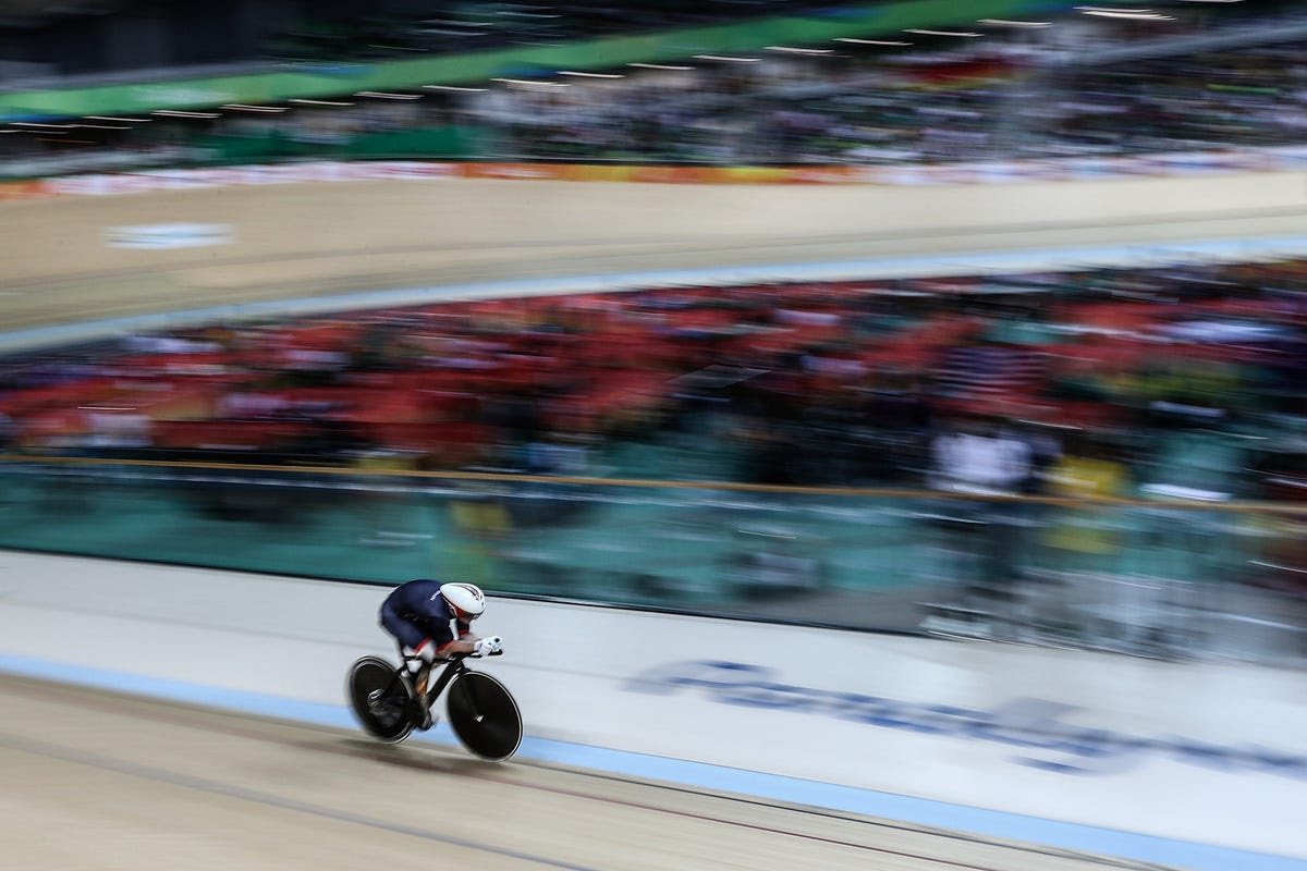 Jody Cundy of Team Great Britain competes in a time trial at the velodrome.