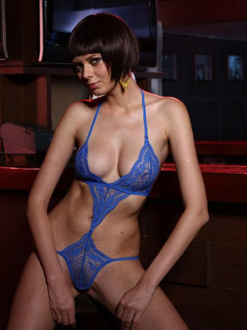 blue sexy lingerie lace hollow hang neck