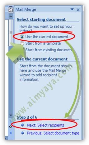 Gambar: Memilih  Surat yang akan digunakan dalam mail merge di microsoft Word