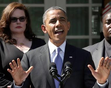 Barack Obama durante pronuncioamento na Casa Branca pedindo a aprovação do orçamento dos Estados Unidos (Foto: Getty Images)