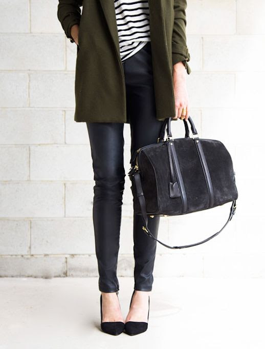Le Fashion Blog Ways To Wear Green Jacket Fall Winter Blogger Style Coat Stripe Tee Leather Pants Suede Bag Pointed Heels Via Oracle Fox