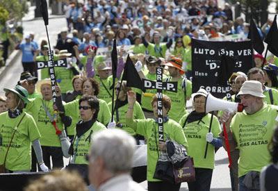 Ha sido la mayor manifestacion en Galicia por las preferentes.