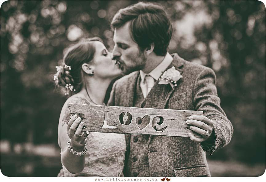 Love sign DIY wedding prop at Suffolk wedding - www.helloromance.co.uk
