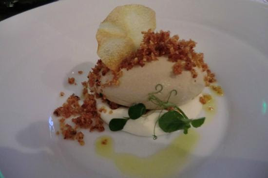 Chicken liver ice-cream with gorgonzola cream, praline, celery & potato crumble - Picture of Ribe, Tallinn