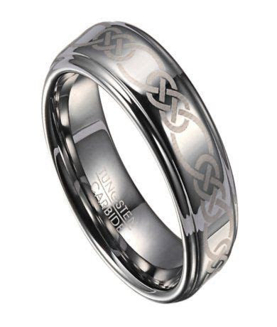 Celtic Knot Tungsten Wedding Ring for Men with Polished