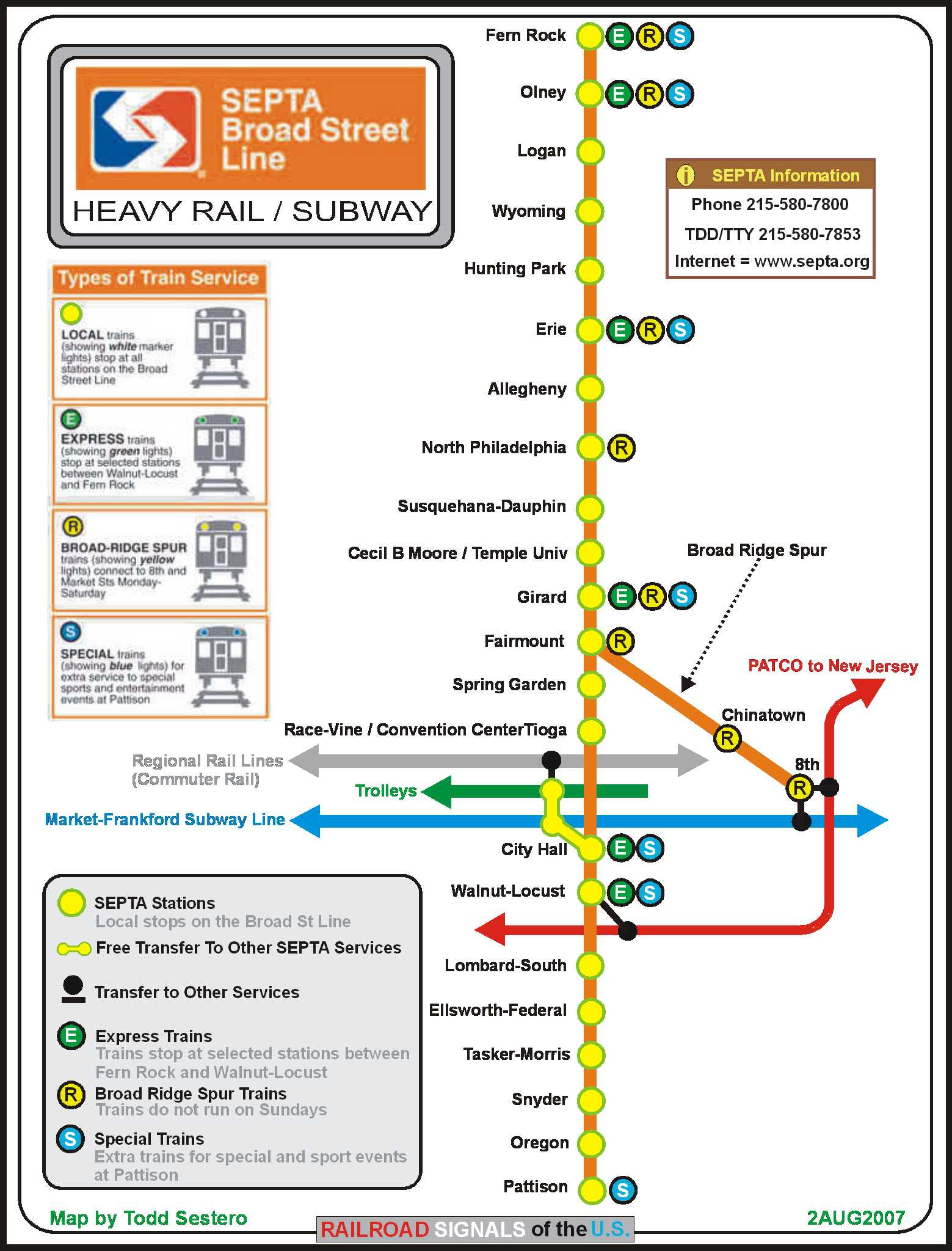 Broad Street Line Map Broad Street Line Map | Color 2018