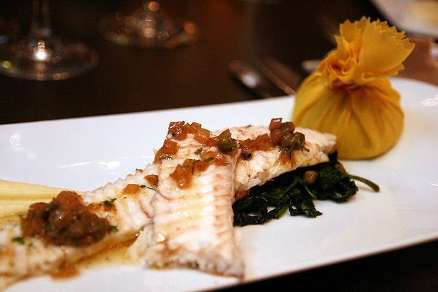 Dover Sole Meuniere, Garlic Wilted Spinach, Smoked Pomme Puree