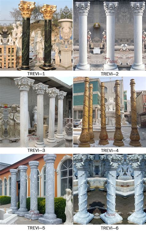 Architectural white marble decorative corinthian columns