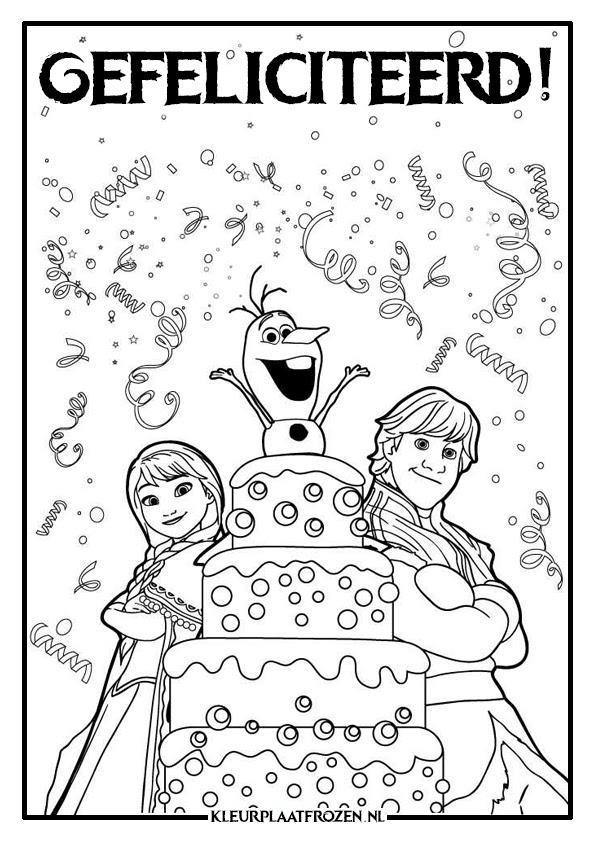 kleurplaat frozen verjaardag verjaardag