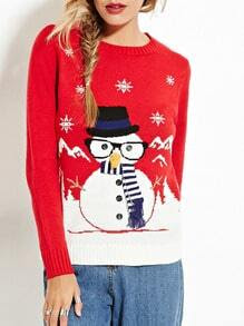 Red Scarf Snowman Pullover Sweaters