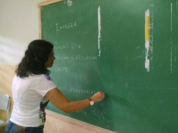 Quadro de giz usado em escolas da PB (Foto: Wagner Lima/G1 PB)