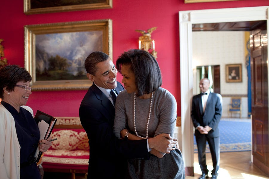 In the White House's Red Room with adviser Valerie Jarrett in March 2009.