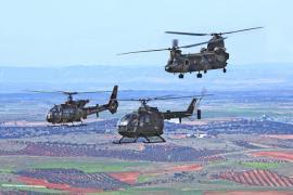 Helicópteros franceses y españoles sobre Almagro