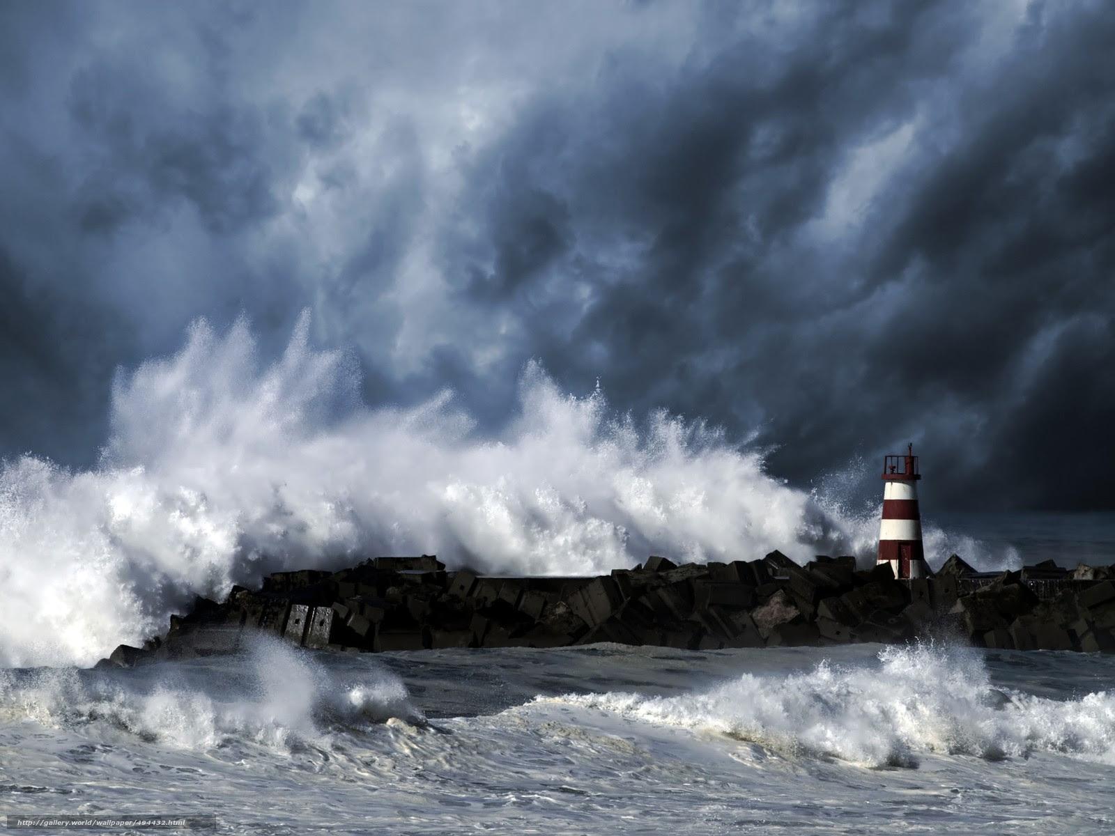 壁紙をダウンロード 海 灯台 嵐 デスクトップの解像度のための無料