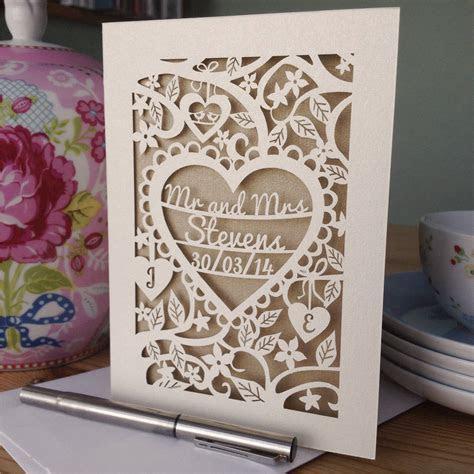 personalised papercut wedding card by pogofandango
