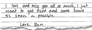 Return: Ben says all he wants is to come home as soon as possible