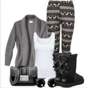 uggs black boots with cute bows for winter outfit