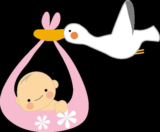 赤ちゃんとコウノトリのイラストbaby無料イラストフリー素材