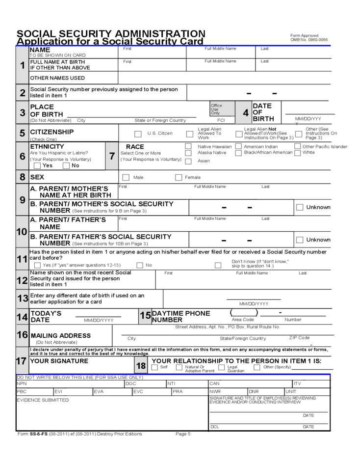 Application for a Social Security Card (Outside of the U.S.) Free Download