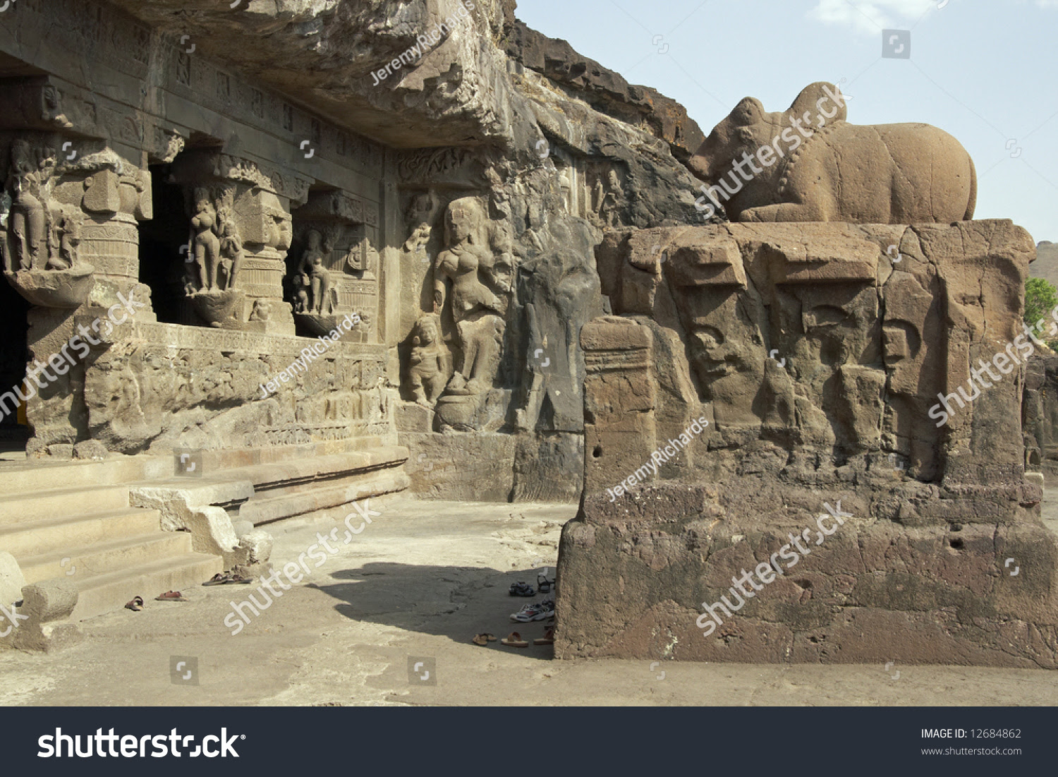 Ancient Hindu Temple carved out of solid rock, Ellora Caves, near ...
