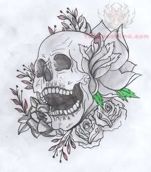 Flowers And Butterflies With Skull Tattoo Design