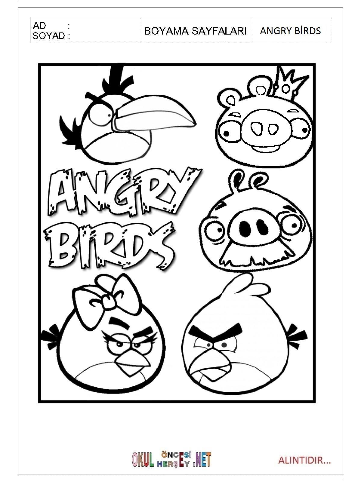 Angry Birds Boyama Kitabi Ust Ev Boyama Sayfasi
