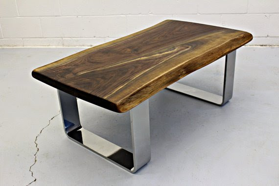 Live Edge Black Walnut Coffee Table with Chrome Legs ...