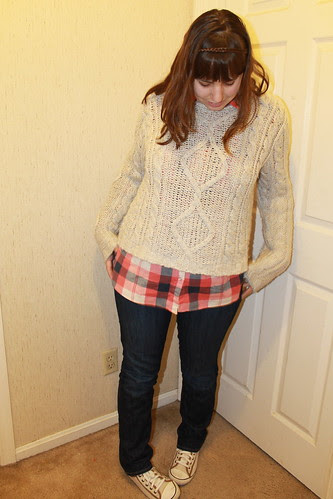 Grunge outfit: Gap jeans, aran fishermen's sweater, flannel shirt, hand-me-down kicks