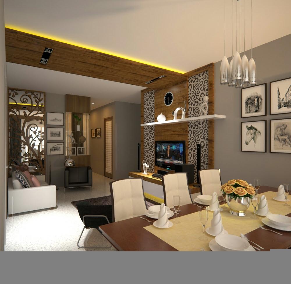 Ruang tamu Ruang keluarga  dan Ruang makan kotakinterior