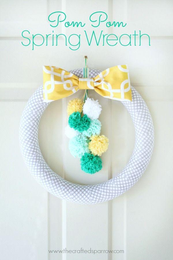 Pom Pom Spring Wreath thecraftedsparrow.com
