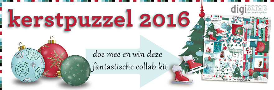 Kerstpuzel 2016 - Digiscrap Digitaal scrappen - we wish you