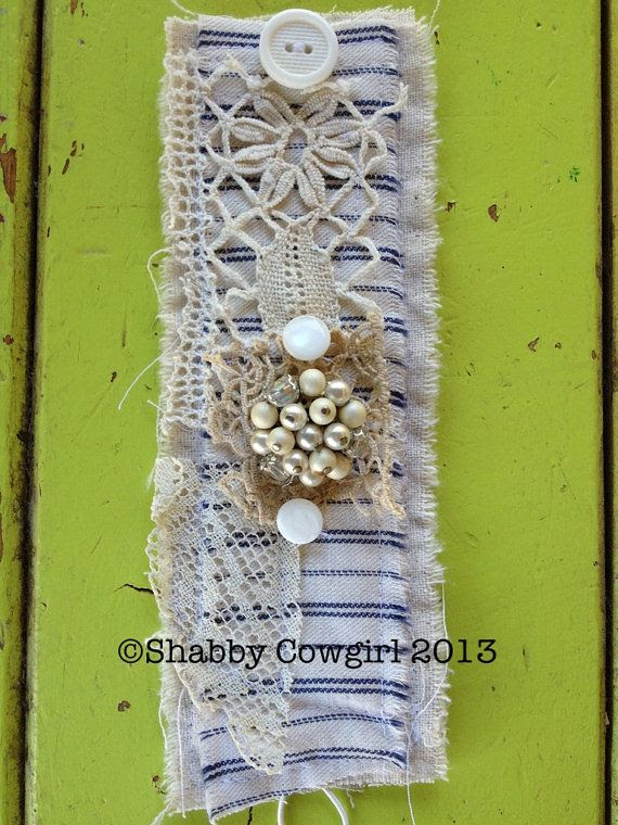 Ticking Stripe Shabby Cuff by Shabbycowgirl on Etsy, $23.00