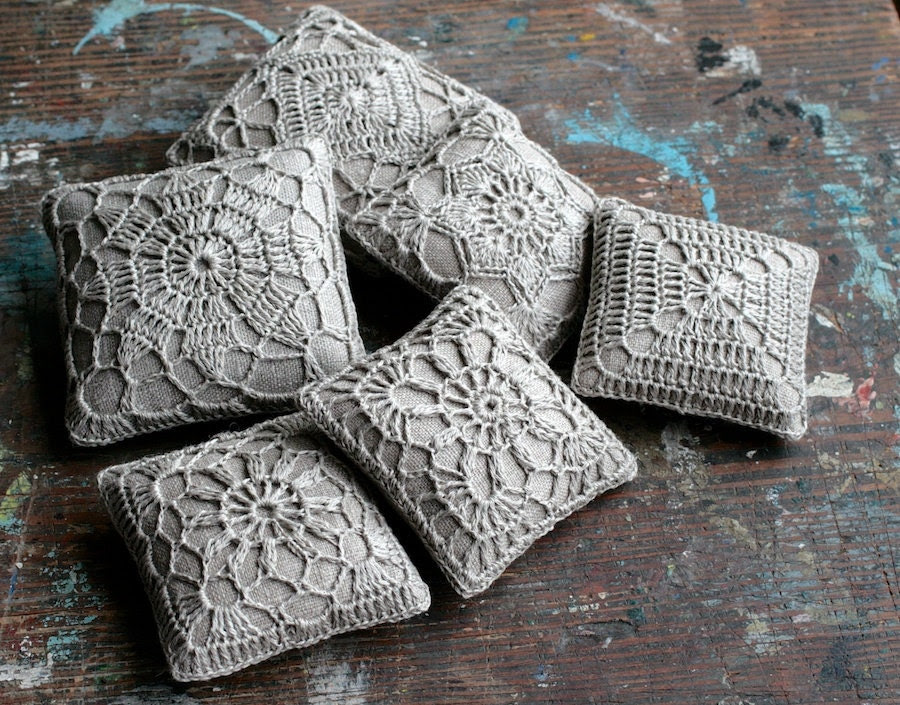 Linen pincushion - crochet motif -- natural