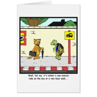 Bus Ride: Tortoise cartoon Greeting Card