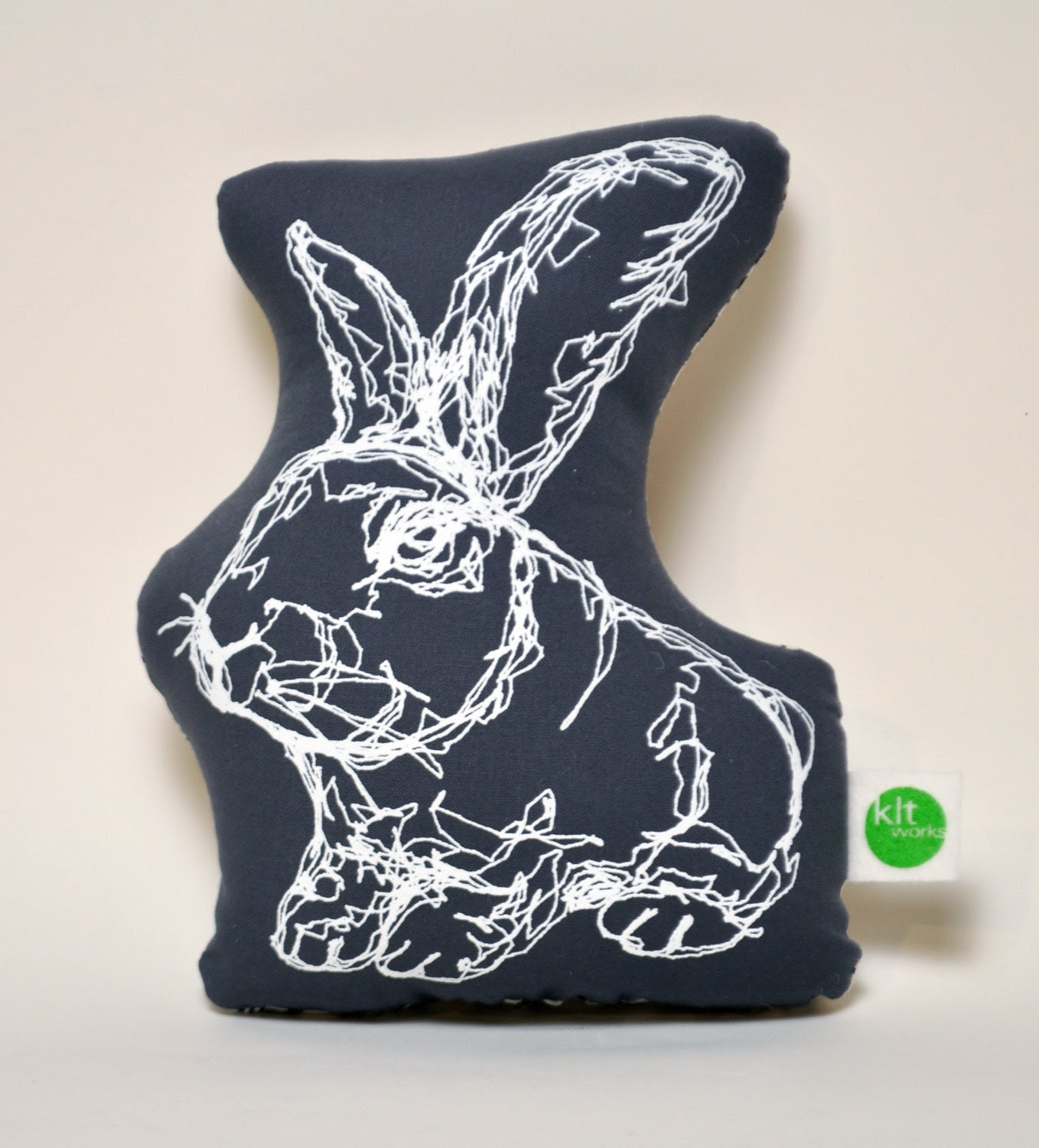Grey Mini Rabbit Plushie- backed w/ Kalla or Ink & Spindle fabric
