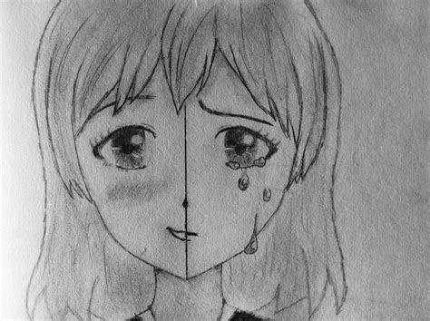 anime girl drawing smilingcrying zeichnen pinterest