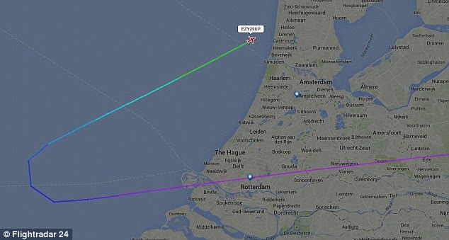 EasyJet flightEZY6238 was forced to turn around over the North Sea and divert to Amsterdam
