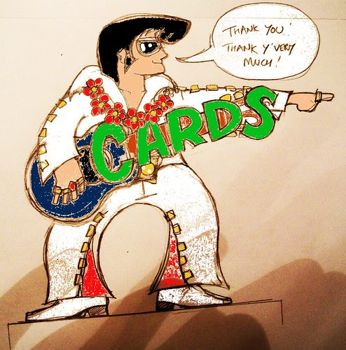 Elvis card box as colored by gimp, drawn by Pete