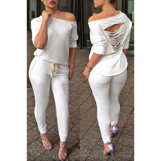 all white casual jumpsuits  breeze clothing