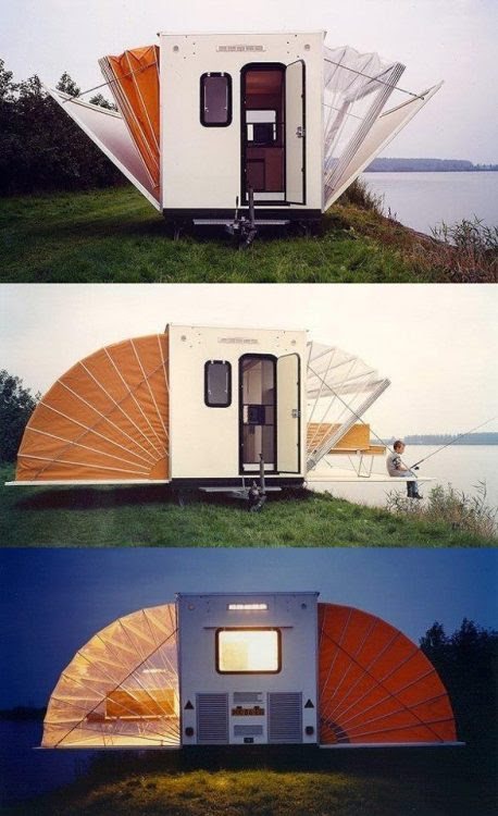 """Markies """"De Markies"""" (The Awning) was an entry in the """"Temporary Living"""" competition 1985 and was conceived as a mobile home. On the road, it measures 2.00m by 4.50m, and once it has arrived at its destination its floorspace can be increased threefold in a matter of seconds. """"De Markies"""" was awarded the Public Prize at the Rotterdam Design Prize 1996. (viaMarkies)"""