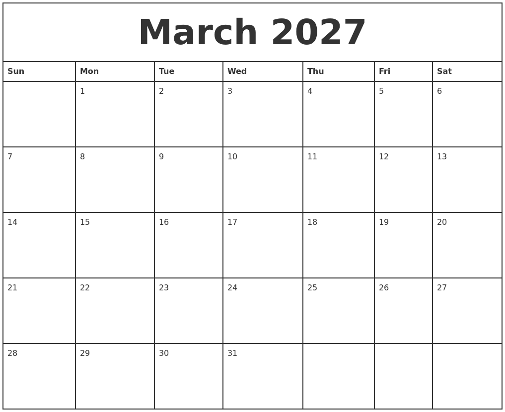 march 2027 printable monthly calendar
