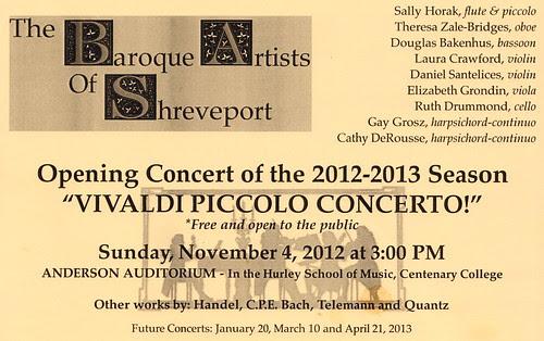 Baroque Artists, Shreveport: concert 11.04.12, Hurley by trudeau