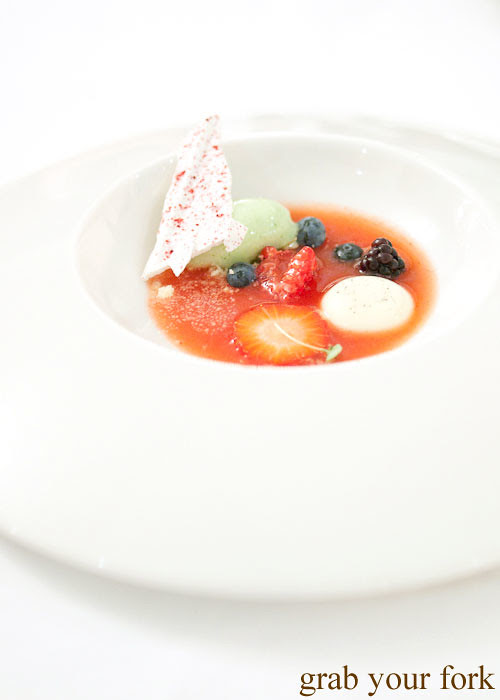strawberry soup at the langham galileo restaurant sydney