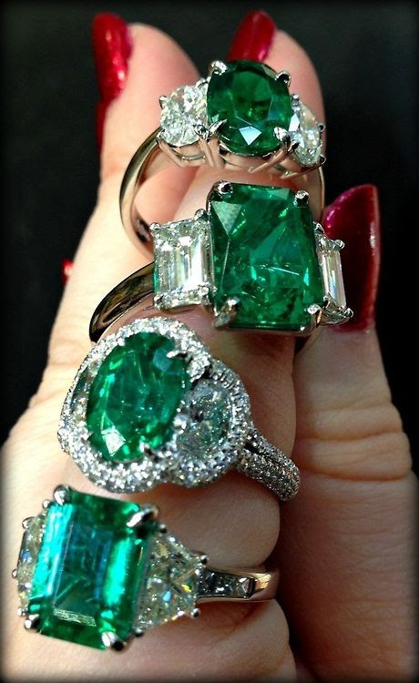 Emerald and diamond rings by JB Star.