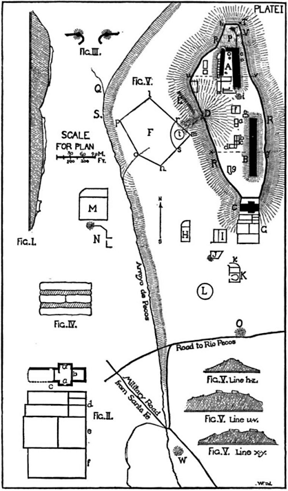 PLATE I: GENERAL PLAN OF RUINS OF PECOS.