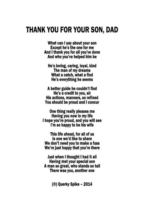 Thank you for your Son Dad Poem   Glenys   Dad poems