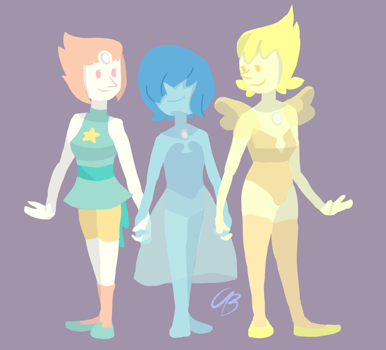 I haven't done any Steven Universe content in awhile, so here's three Pearls. Blue Pearl is the little sister Pearl, She is smol. I wanted to do lineless, and i think it turned out pretty...